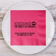 Kissing the Single Life Goodbye Personalized Bachelorette Party Napkins | Bachelorette Party