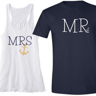 MRS and MR Nautical Anchor Shirt Set (Rhinestone Anchor for MRS Tank) | Honeymoon Shirt Set | Mr and Mrs Shirt Set