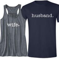 Block wife {with Heart} and husband. Tank and T-Shirt Set | Honeymoon Shirts