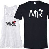 Mrs {with Mouse Ears and Bow} Flowy Racerback Tank and Mr {with Mouse Ears} T-Shirt Set | Honeymoon Shirt Set