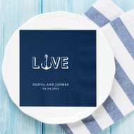 L {Anchor} VE Nautical Themed Personalized Wedding Napkins | Wedding Reception Napkins