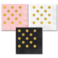 Metallic Gold Dots Party Napkins {Package of 25}