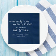 Sandy Toes and Salty Kisses ... Mr. & Mrs. Personalized Wedding Napkins | Wedding Reception Napkins
