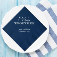 So Happy Together Personalized Wedding Napkins | Wedding Reception Napkins