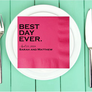 Bold BEST DAY EVER. Personalized Wedding Napkins | Wedding Reception Napkins