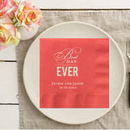 Best Day Ever {with Dots} Personalized Wedding Napkins | Wedding Reception Napkins