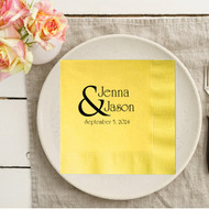 Bold Ampersand {with Names and Date} Personalized Wedding Napkins | Wedding Reception Napkins