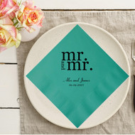 Bold mr. and mr. {with Names and Date} Personalized Wedding Napkins | Wedding Reception Napkins