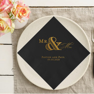 Block Mr. and Scripty Mrs. Large Ampersand {with Names and Date} Personalized Wedding Napkins | Wedding Reception Napkins