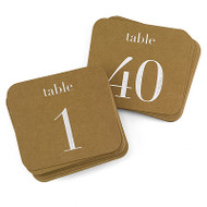 Kraft and Silver Table Number Cards {1-40}