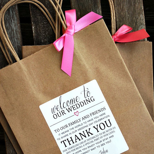 Favors wedding favors by type wedding welcome bags before welcome to our wedding thank you personalized wedding welcome bag junglespirit Image collections