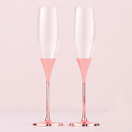 Rose Gold Diamond Glitter Toasting Flute Set