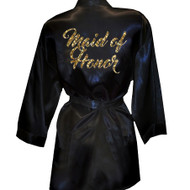 Brush Script Maid of Honor Glitter Print Satin Robe