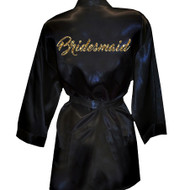 Brush Script Bridesmaid Glitter Print Satin Robe