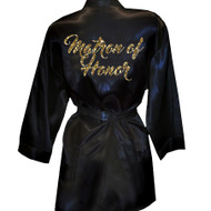 Brush Script Matron of Honor Glitter Print Satin Robe