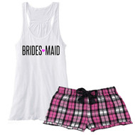 BRIDES {Heart} MAID Fuchsia Plaid Boxer with Flowy White Tank Pajama Set