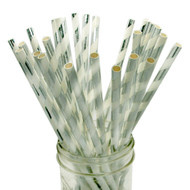 Shiny Silver Foil Striped Eco-Friendly Paper Straws {Package of 25}