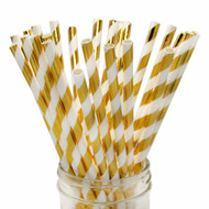 Shiny Gold Foil Striped Eco-Friendly Paper Straws {Package of 25}