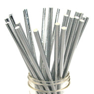 Shiny Solid Silver Foil Eco-Friendly Paper Straws {Package of 25}