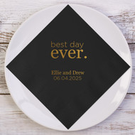 best day ever. Block Font Personalized Wedding Napkins | Wedding Reception Napkins