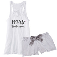 mrs {with Heart and Last Name} Flowy Racerback Tank and Charcoal Striped Seersucker Boxer Set