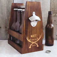 Personalized Groomsman Antlers Rustic Craft Beer Carrier with Bottle Opener | Groomsman Gift