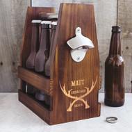 Personalized Groomsman Antlers Rustic Craft Beer Carrier with Bottle Opener | Groomsman Gift
