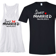 Just Married {with Bow and Mouse Ears} Flowy Racerback Tank and T-Shirt Set