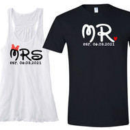 Mr and Mrs {with Bow and Mouse Ears} Flowy Racerback Tank and T-Shirt Set