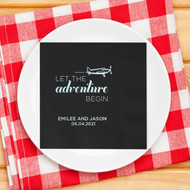 LET THE adventure BEGIN {with Plane} Personalized Wedding Napkins | Wedding Reception Napkins