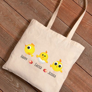 Personalized Three Chicks Easter Tote Bag