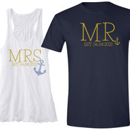 Nautical Mr and Mrs Tank {with Est. Date and Blue Rhinestone Anchor} Flowy Racerback Tank and T-Shirt Set