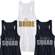 the BRIDE or Bride's SQUAD Glitter Print Flowy Racerback Tank | Bachelorette Party Apparel