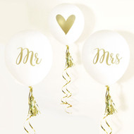 Mr and Mrs with Heart White and Gold DIY Balloons {Set of 3}