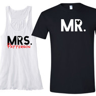 Mr. and Mrs. with Mouse Ears {and Last Name on Her Tank} Flowy Racerback Tank and T-Shirt Set