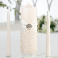 Satin and Lace Unity Candle Set in Cream