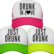 Drunk in Love {with Heart} or Just Drunk Neon Trucker Hat | Bachelorette Party Hats