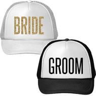 GROOM and Glitter BRIDE Trucker Hat Set | Bride and Groom