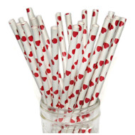 Red Hearts Eco-Friendly Paper Straws {Package of 25}