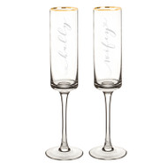 Hubby and Wifey Gold Rim Contemporary Champagne Flute Set