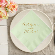 Rustic Script Names Personalized Napkins | Wedding Reception Napkins