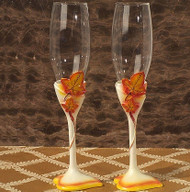 """Fall in Love"" Splendid Autumn Toasting Flutes"
