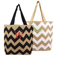 Personalized Chevron Natural Jute Tote Bag
