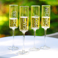 Cheers! Contemporary Champagne Flutes (Set of 4)