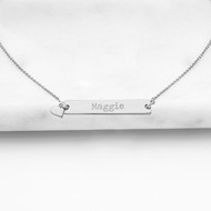 Silver Personalized Bar Necklace with Heart Charm