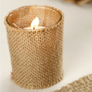 Burlap Covered Glass Votive Candle Holder