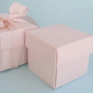 Pastel Pink Square Box with Lid (Set of 10)