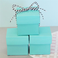 DIY Aqua Blue Favor Boxes with Lids (Set of 12)
