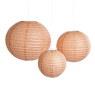 Faux Burlap Print Paper Lanterns (Set of 6)