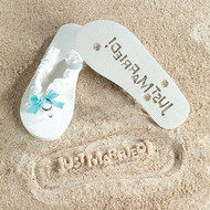 """Just Married"" White Flip Flops for Her"